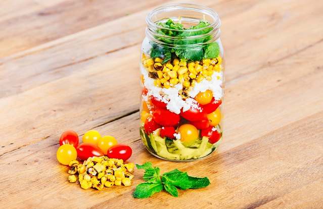 Zucchini and Roasted Corn Mason Jar Salad