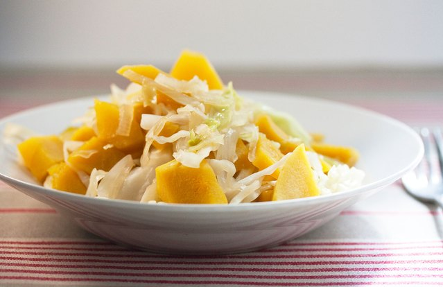 Sweet and Sour Acorn Squash and Cabbage