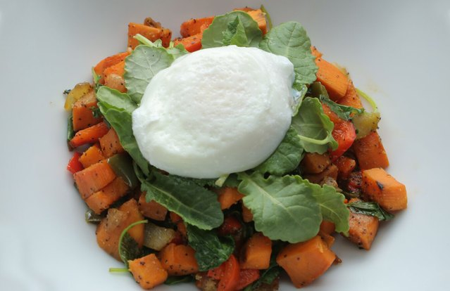 Sweet Potato Kale Hash With Poached Egg