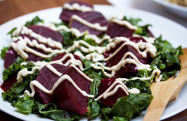 Holiday Kale and Beet Salad With Tofu Dressing