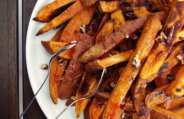 Maple-Glazed Sweet Potato Steak Frites with Pecans