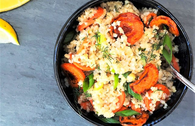 Warm Lemony Bulgur Salad With Roasted Carrot Coins and Dill
