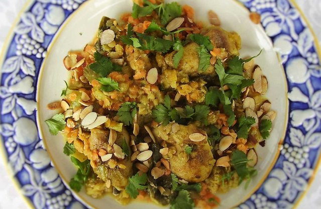 Curry Coconut Chicken, Red Lentils and Bok Choy (Family-Style)