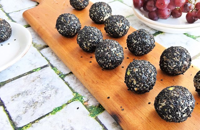 Savory Goat Cheese, Fig and Pistachio Protein Balls