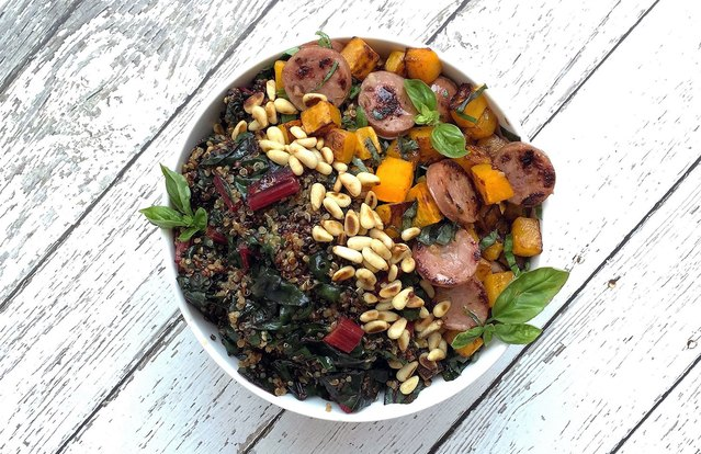 Swiss Chard, Squash and Natural Sausage Breakfast Superfood Bowl