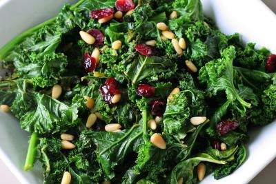 A bowl of sauteed kale.