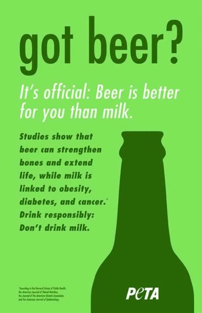 PETA's newest Ad campaign wants you to ditch milk for beer