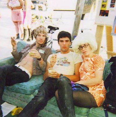 Rock star style: This is a scan of a Polaroid photo I took at Burning Man 1999 of my friends J.P. and Mindy hanging out with Dandy Warhols singer Courtney Taylor-Taylor in the Media Mecca tent.