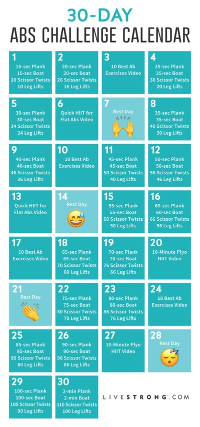 Workout Calendar For Abs : The day abs challenge livestrong