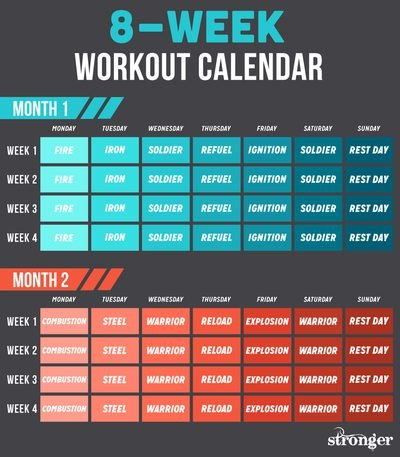 Follow this calendar for all eight weeks of the challenge.
