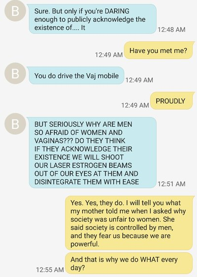 Hysterical mother-daughter text message exchange about tampons.