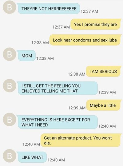 Funny mother-daughter text message exchange about tampons.