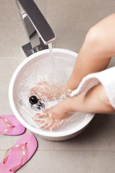 Woman and foot bath