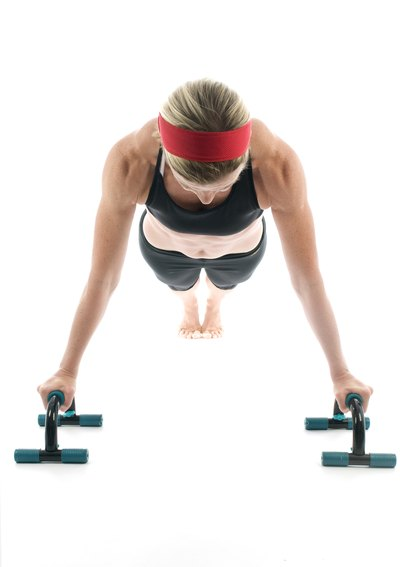 Push-up bar push-ups activate your forearms more than regular push-ups.