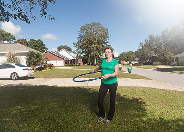 Lara uses her weighted hula hoop daily for at last 10 minutes to work her abs and core.