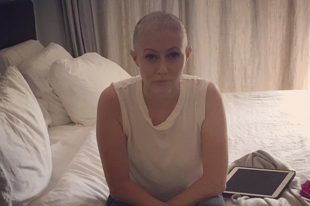 Shannen Doherty while undergoing treatment for breast cancer in August 2016.