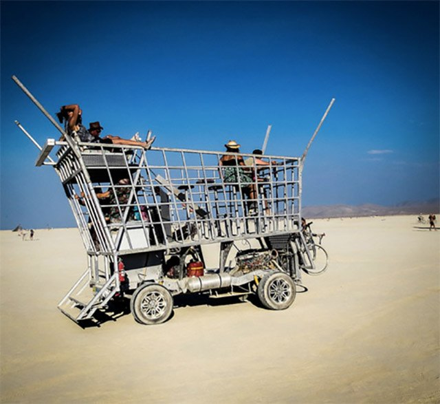 Electric shopping cart art car at Burning Man 2013.