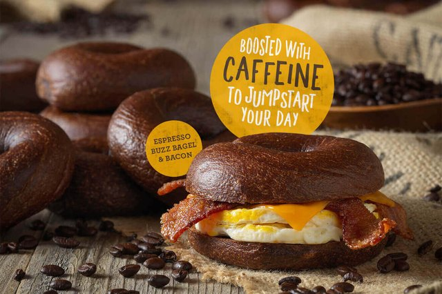 The Espresso Buzz Bagel contains 32 milligrams of caffeine — one third of what's in an eight-ounce cup of coffee.