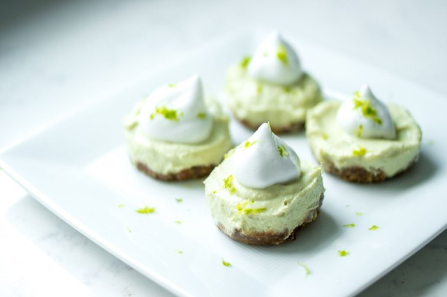 Key lime pie tarts with aquafaba whipped cream