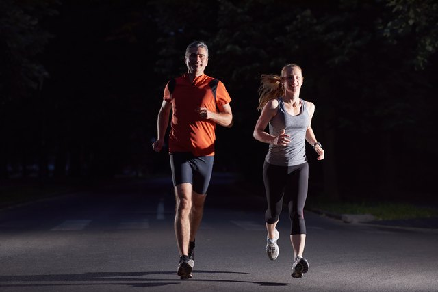 Running at night is just better with a friend.