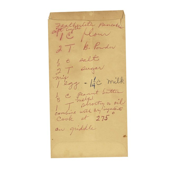 Rosa Parks' scribbled her pancake recipe on the back of an envelope.