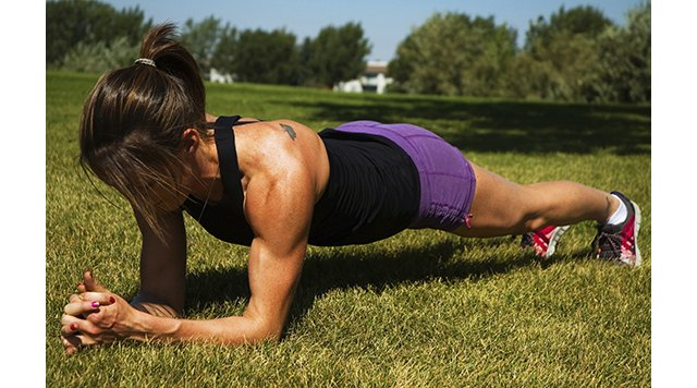 A proper plank will work many muscles, including your abs.