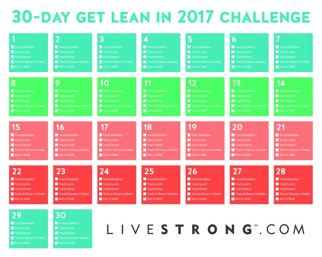 Print out the 30-Day Get Lean in 2017 calendar and track your progress each day.