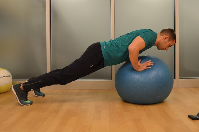 You can do stability ball push-ups in two ways.