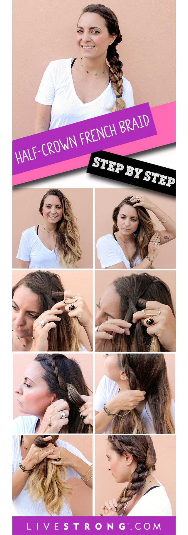 Create a pretty French braid that wraps from the crown of your head to the nape of your neck.