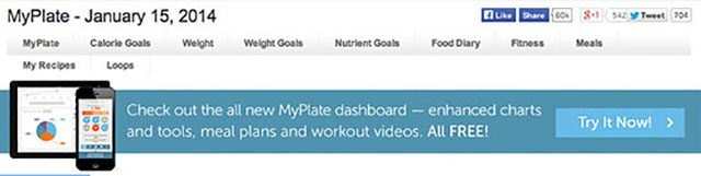 This banner indicates that you are using the old version of MyPlate.