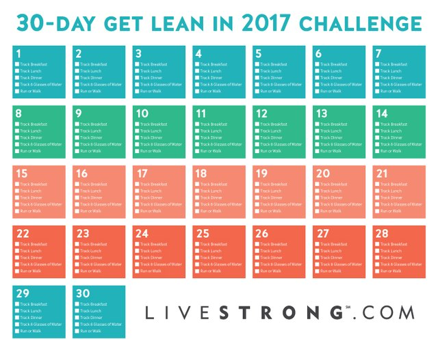 Print out the 30-Day Get Lean in 2017 calendar, and track your progress each day.