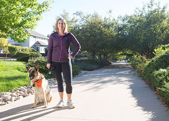 She runs for three miles with her dog four times a week.