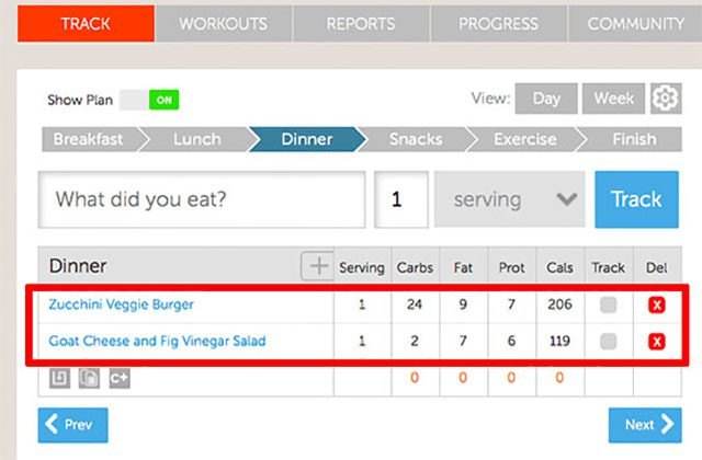 Record your daily meals using the Track tab.