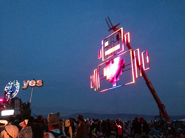 Robot Heart, during Lee Burridge's sunrise DJ set at Burning Man 2014.