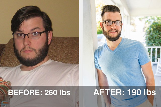 Dan went from 260 pounds to 190 pounds.