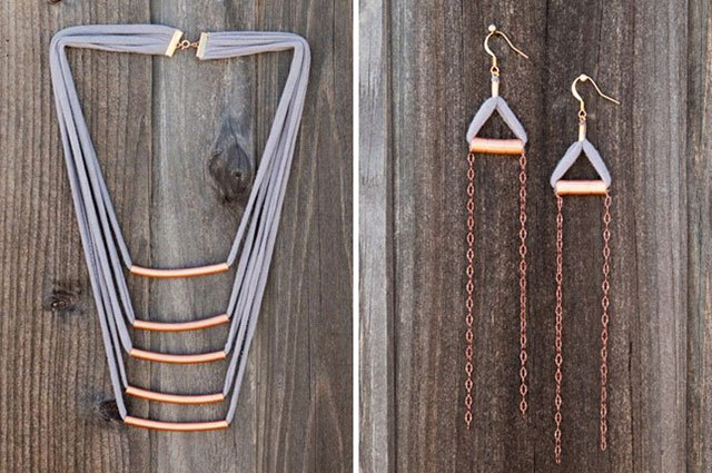 Give your worn-out t-shirts a second life as a necklace.