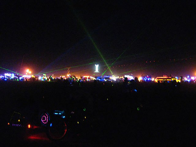 Black Rock City seen at night in Burning Man 2012.