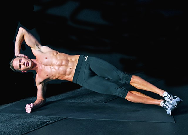 From your high side plank, take it down to the elbow.
