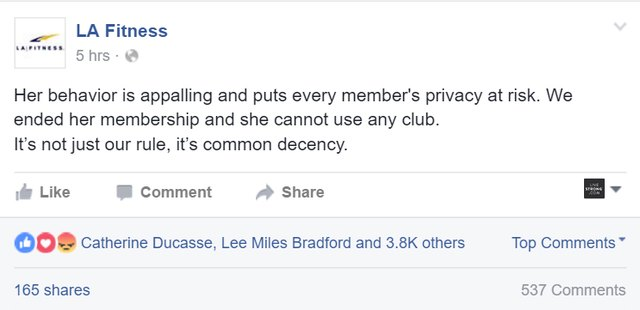 LA Fitness condemns Mathers' action on Facebook.