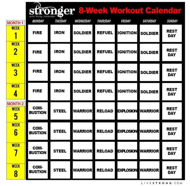 Follow this calendar to face this fitness challenge.