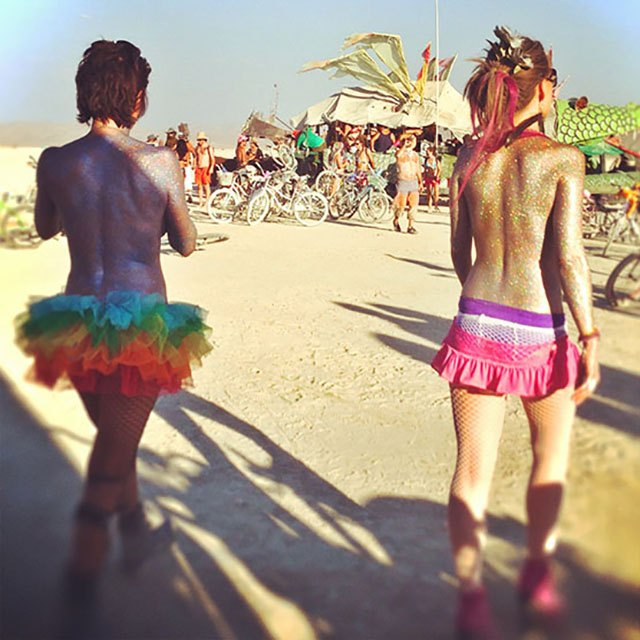 Tutus and body glitter and not much more at Burning Man 2013.