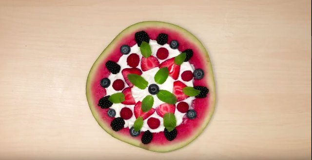 This watermelon fruit pizza is seriously guilt-free.