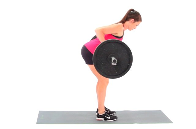 Proper form for a bent-over barbell row.