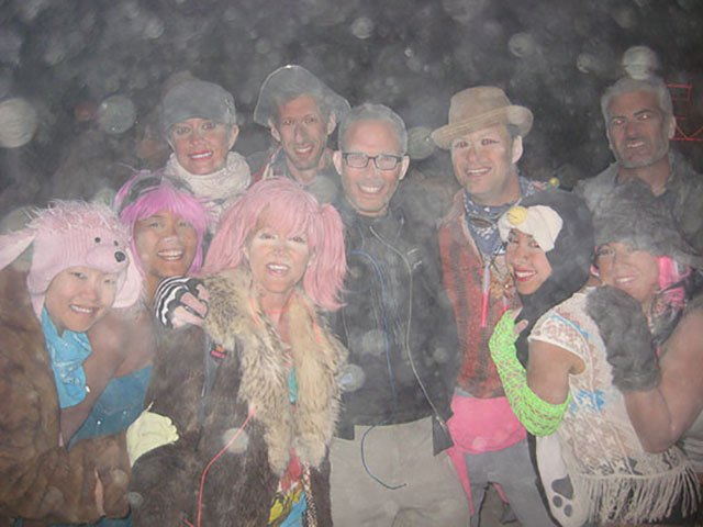 My campmates and I out at night during a fierce dust storm at Burning Man 2012.