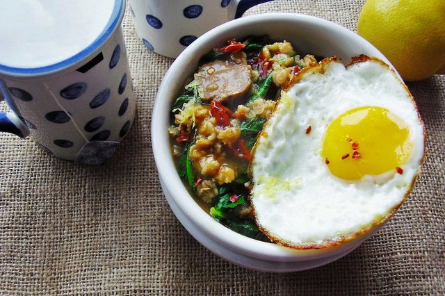 This savory oatmeal bursts with turkey sausage, kale and a fried egg.