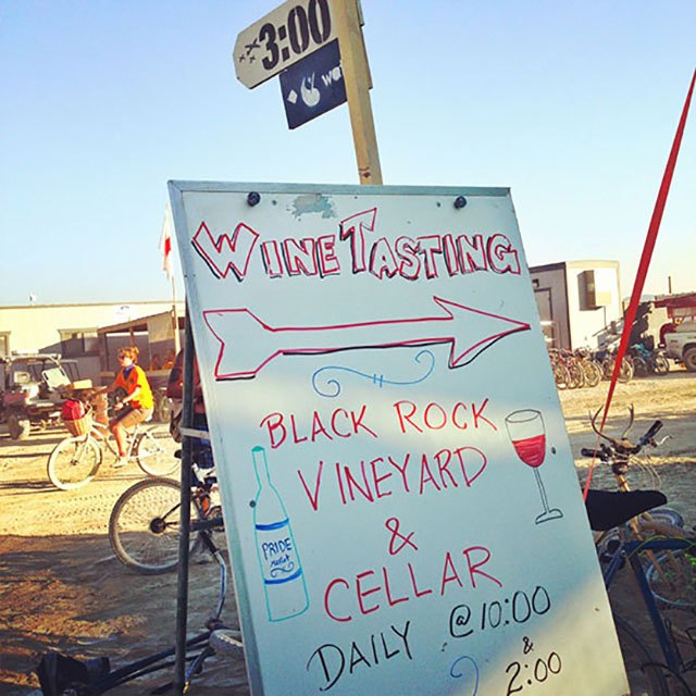 Wine tasting at Black Rock Vineyards and Cellar Camp at Burning Man 2013.