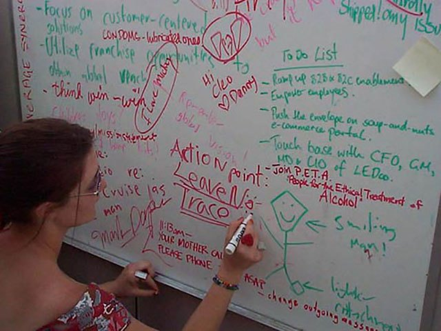 "The white board on the random office cubicle in the middle of the desert at Burning Man 2000 was covered with office jargon: ""Think win-win"" ""ramp up B2b and B2C enablement""."
