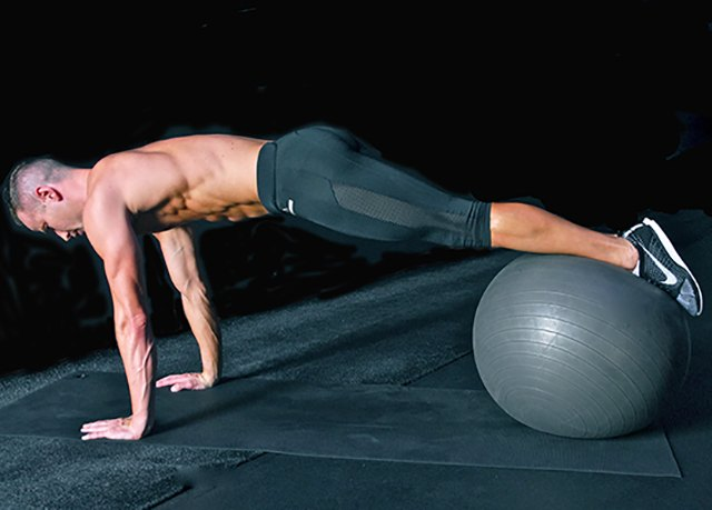 Use a medium-size exercise ball to introduce variations to your routine.