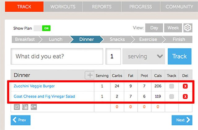 The Track tab helps you keep track of and view what you ate.