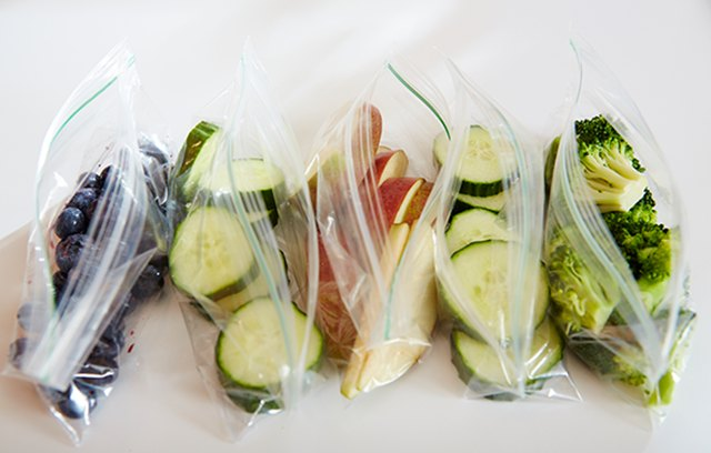 Kate keeps bags of veggies as quick, on-the-go healthy snacks.